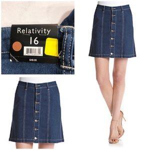 NWT Relativity Button Jean Skirt — Size 16